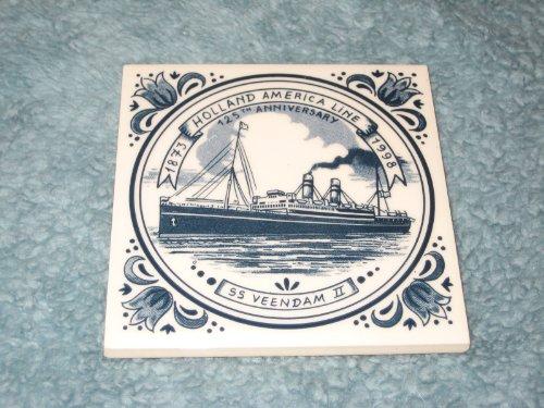 Vintage Delft Holland America Line Small 4x4 Inch Porcelain Tile w/ Cork Back - SS Veendam II