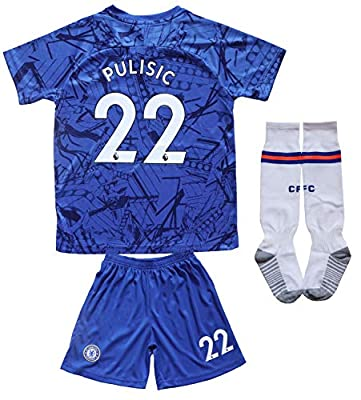LES TRICOT 2019/2020 Chelsea Home #22 Christian PULISIC Soccer Kids Jersey Shorts Socks Set Youth Sizes