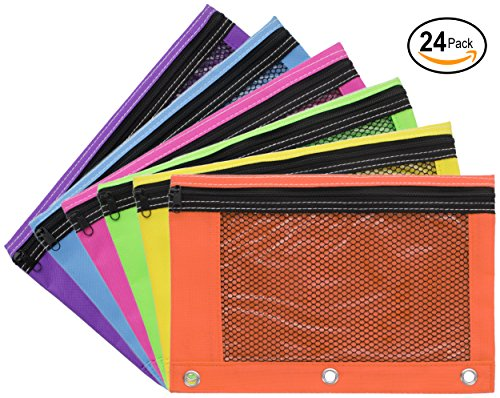 Emraw Zippered Pencil Pouches with 3-Ring Grommet Holes & Quick View Mesh & Clear Vinyl Pocket - Colors Included: Blue, Purple, Lime Green, Pink, Yellow, Orange (24 Pack) (Colored Pencil Ring)
