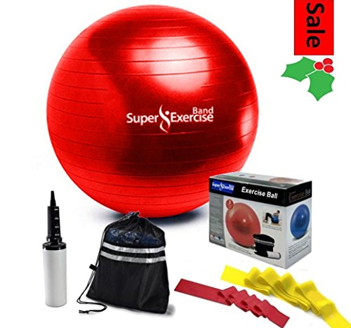 Super Exercise Band Fitness Stability Ball, Pump, Travel Pouch & 2 Resistance Bands. Sunrise Red Gym Grade Anti-Burst Balance Ball for Yoga, Pilates and Strength Training Workouts. 65mm size ball.