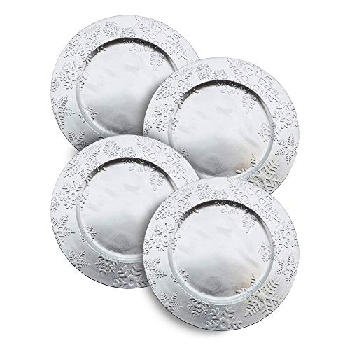 """Snowflake Silver Charger Plate, Dinner Setting - 13"""" Round, 4 Ct."""