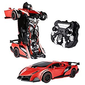 SainSmart Jr. Transform Car Robot, Electronic Remote Control RC Vehicles with One Button Tranforming and Realistic Engine Sound, for Kids from SainSmart Jr.