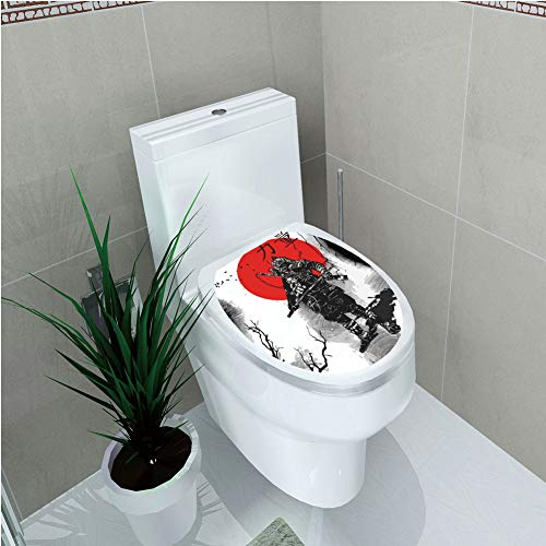 Toilet Cover Decoration,Japanese,Portrait of Skilled Educated Aristocrat Ancient Knight with Weapon Man of War Image,Black Red,3D ()