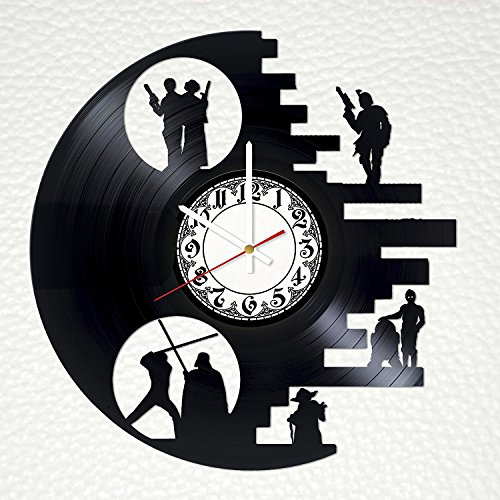 Movie Quotes Vinyl Record Wall Clock - Get unique bedroom or home room wall decor - Gift ideas for friends, women and men - Movie Unique Art (Princess Leia Quotes)