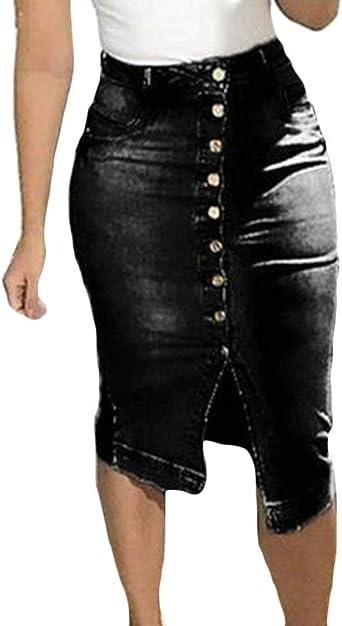 dahuo falda de jean de cintura alta ajustada con diseño de botones ...