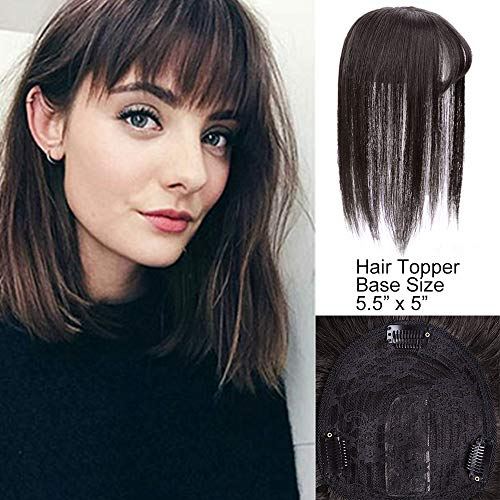 AISI HAIR Top Crown Closure Clip in Crown Topper with Bangs 100% Human Hair Topper Clip in Bangs with Scalp for Women