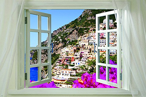 Window onto gorgeous AMALFI ITALY scenic poster 24X36 colorf