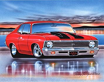 Amazon Com 1970 71 72 Chevy Nova Ss Muscle Car Art Print Red 11x14
