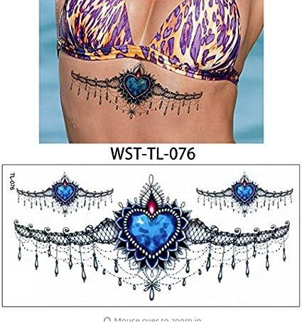 yyyDL Etiqueta engomada del tatuaje temporal Mujeres Sternum ...