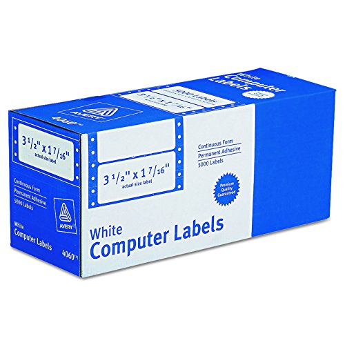 Avery Dot Matrix Printer White Addressing Labels, 3-1/2