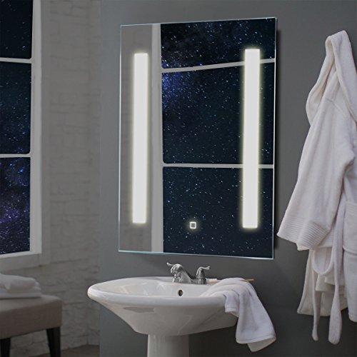 Tangkula LED Bathroom Mirror Wall-Mounted Makeup Vanity Mirror Led Light Illuminated Lightning Bath Rectangle Hanging 2 Frosted Line Polished Edge