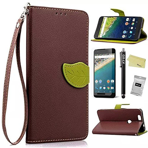 Nexus 6P Case,GX-LV(TM) Huawei Google Nexus 6P Book Style Card Slots Premium Leather Wallet Flip Wrist Strap Case Cover for Huawei Google Nexus 6P 2015 -Retail Packaging (Leaf Case - Brown)