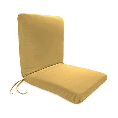 Plow & Hearth Classic Polyester Outdoor Chair Cushion with Ties, Seat 19'' x 17'' x 2.5''; Back 19'' x 19'' x 2.5'' - Khaki : Garden & Outdoor