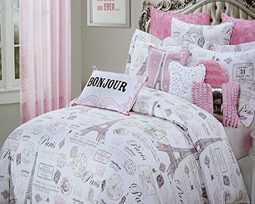 Amazon.com: 4pc Twin Size Designer Nicole Miller Pink U0026 Gray Paris Eiffel  Tower Comforter Set: Home U0026 Kitchen