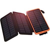 Solar Charger 10000mAh, Hiluckey Waterproof Portable Solar Power Bank External Battery with 3 Solar Panels for Smartphones, Tablets and Outdoor Camping Travel