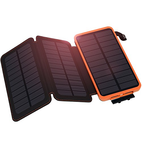 Solar Charger, Hiluckey Solar Power Bank 10000mAh with 3 Solar Panels Waterproof Portable Battery Pack for iphone, Smartphones, Tablets and Outdoor Camping, Travelling (Charger Portable Solar)