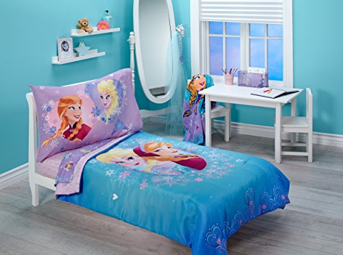 Disney Frozen Magical Sisters 4 Piece Toddler Bedding Set, Pink/Purple/Blue