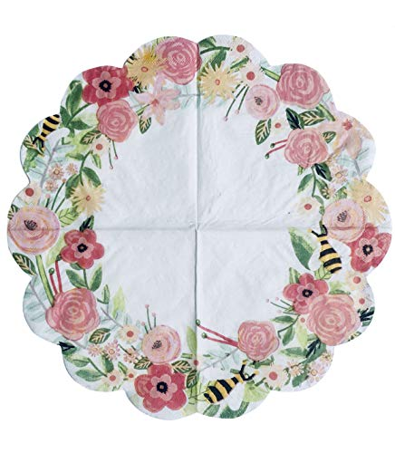 Spring Fling Pink Floral Bee Scalloped Die-Cut Edge Luncheon Paper Doily Napkins, 16 ct]()