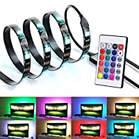 Bias Lighting for HDTV USB Powered TV Backlighting, Home Theater Accent 35.4 Lighting Strip With Remote Control, Multi Color RGB LED Neon Accent TV Lighting for Flat Screen TV OC Accessories