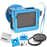 Gurmoir Aluminum Alloy Case Housing for Gopro Hero 6 Gopro HERO (2018) Action Camera (with Back Door)(Blue) - Wire Connectable Protective Metal Skeleton Cage with 52 mm Filter