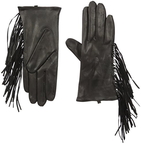 SOIA & KYO Women's Selene Leather Fringe Gloves, Black, Medium