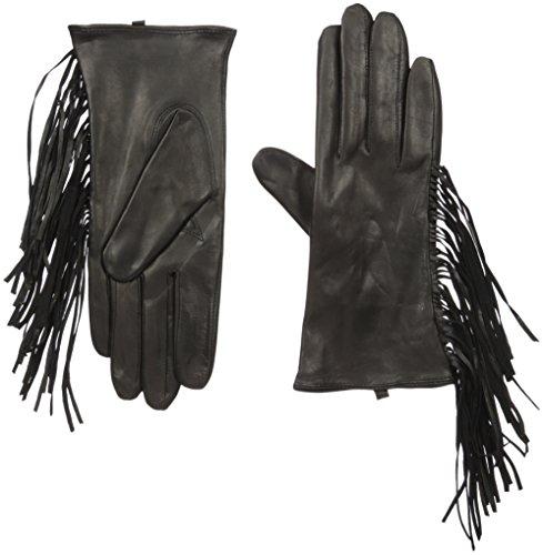 SOIA & KYO Women's Selene Leather Fringe Gloves, Black, Medium