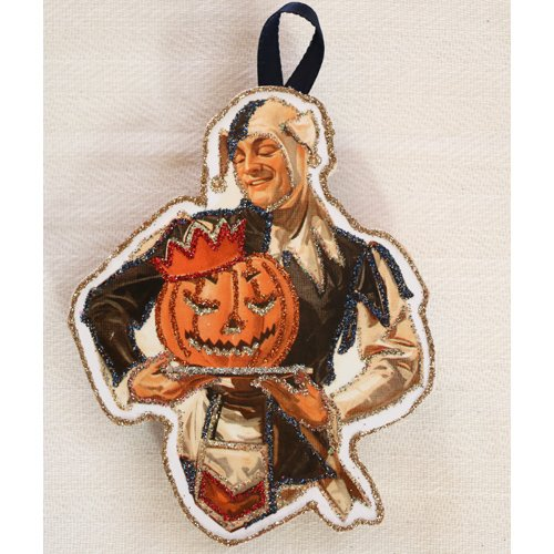 Vintage Halloween Card Image~ Jester~Glittered Wooden Ornament~Handmade