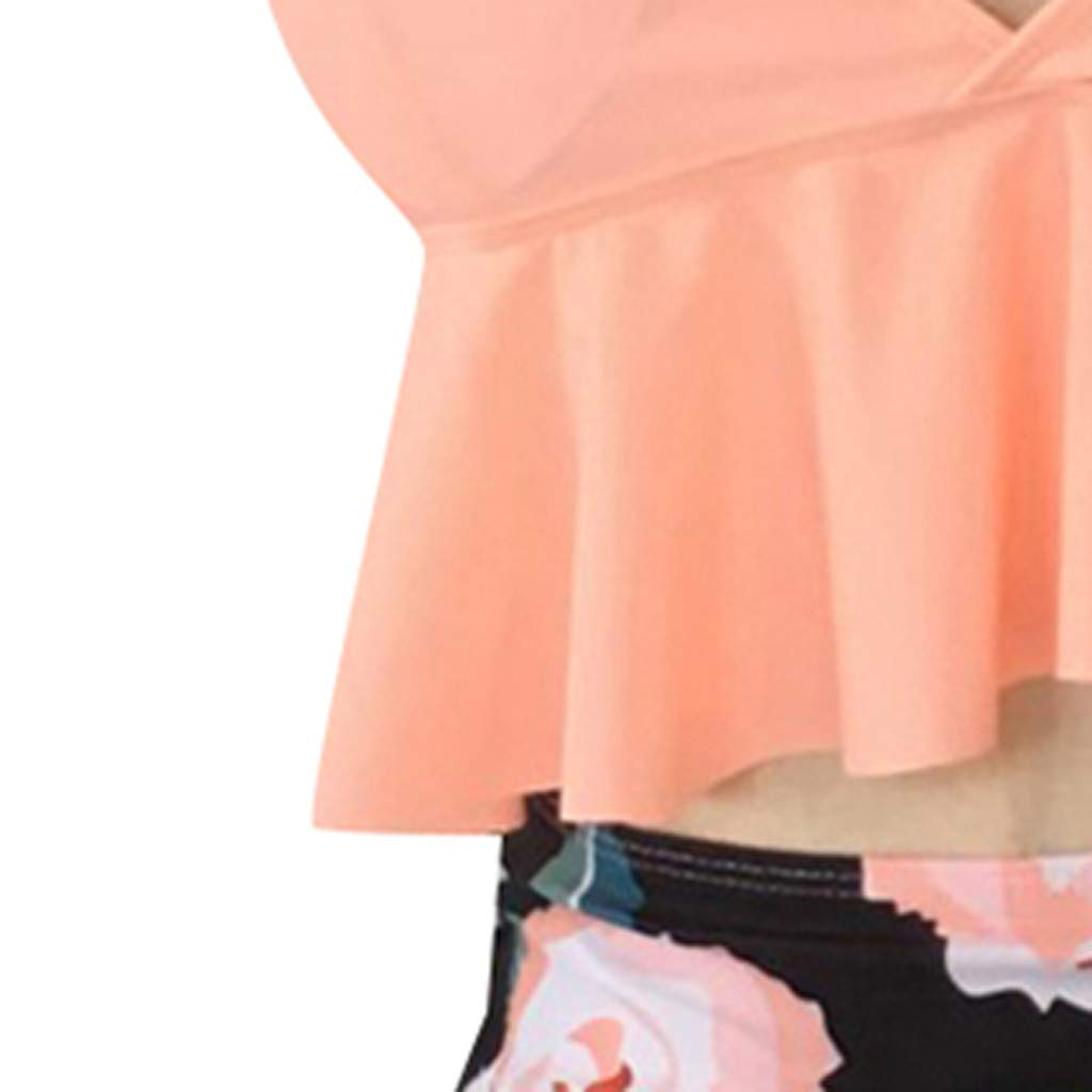 Bikini Swimsuit for Women High Waisted Tummy Control Two Piece Tankini Ruffled Top with Swim Bottom Bathing Suits Daorokanduhp