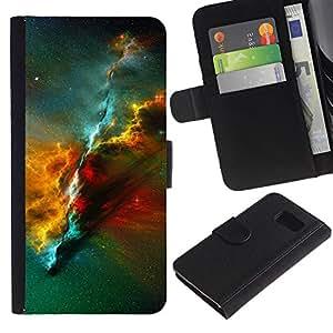 Billetera de Cuero Caso Titular de la tarjeta Carcasa Funda para Samsung Galaxy S6 SM-G920 / Universe Awe Inspiring Cosmos Star Cluster / STRONG