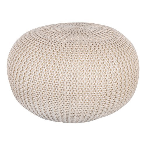 Natural 60cm Chunky Knit Round Pouffe Foot Stool Knitted Crochet Footstool Seat by Country (Club Footstool)