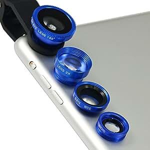 First2savvv JTSJ-4N1-A03 - Pack de lentes con clip para Samsung Omnia 7 (ojo de pez, gran angular, polarizador, macro y barlow), azul