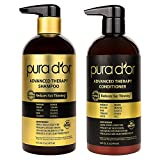 PURA D'OR Advanced Therapy System Shampoo & Conditioner Set Reduces Hair Thinning for Thicker Head of Hair, Infused with Argan Oil, Aloe Vera & Natural Ingredients, For All Hair Types, Men & Women