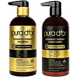 PURA D'OR Advanced Therapy System Shampoo & Conditioner Reduces Hair Thinning for Thicker Head of Hair, Infused with Premium Organic Argan Oil & Aloe Vera, 16 Fl Oz