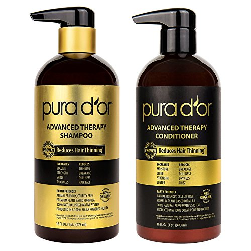 Price comparison product image PURA D'OR Advanced Therapy System Shampoo & Conditioner Reduces Hair Thinning for Thicker Head of Hair,  Infused with Premium Organic Argan Oil & Aloe Vera,  16 Fl Oz