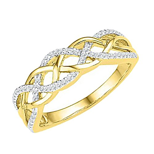 Dazzlingrock Collection 0.20 Carat (ctw) 10K Round Diamond Ladies Swirl Right Hand Ring 1/5 CT, Yellow Gold, Size 8