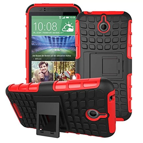 Urvoix for HTC Desire 510, Hybrid Heavy Duty Dual Layer Shock Proof Rugged Shell Grenade Grip Tyre Textured Kickstand Case Cover Red