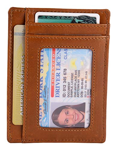 Men's Classic Slim RFID Blocking Wallet with Id slot and 4 Card slots - Antique Brown