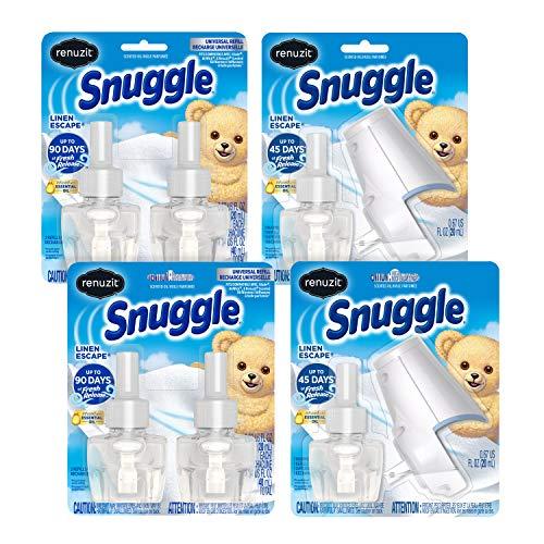 Renuzit Snuggle Scented Oil Plugin Air Freshener, Linen Escape, 6 Refills + 2 Oil Warmers