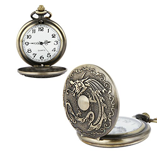 XHDOU Antique Pocket Watch, Vintage Bronze Style with Accurate Quartz Movement Chain for Men Women Daily Wear&Occasions(Dragon) from XHDOU