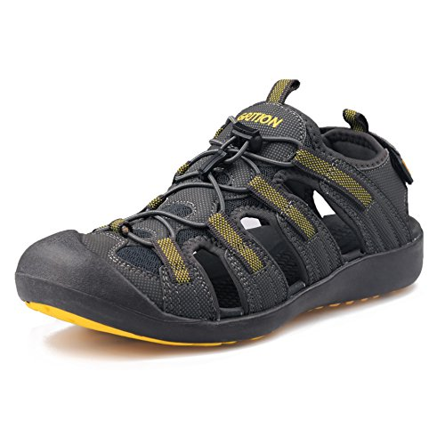 GRITION Men's Outdoor Sandals Large Size Hiking Sandals Protective Toecap Summer Shoes (8 US, Yellow/Gray)