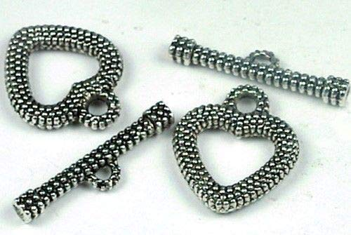 - Loose Beads 2 Pair Heart Silver Pewter Toggle Clasps ~ Lead-Free Jewellery Maker Crafts