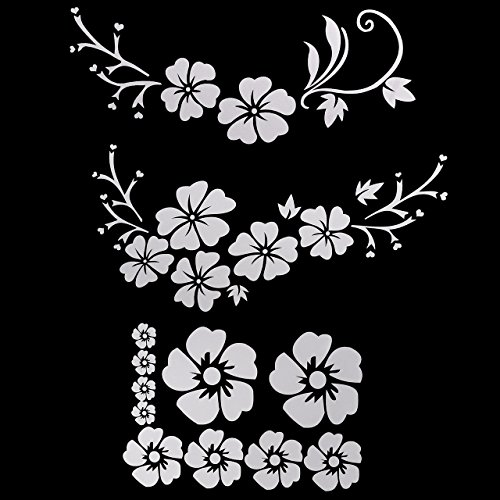 Sticker Mirror Decal - Graceme Car Rearview Mirror Window Body Bumper Light Eyebrow Fuel Tank Cap Decal Sticker Scratch Cover Hibiscus Hawaiian Flower (White)