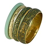 Celadon and Golden Indian Fashion Jewelry Bracelet Bangles Gift for Her