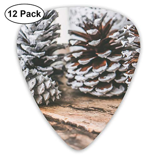 (Four Pine Cones On Top of Brown Wooden Surface Ultra Light 0.46 Medium 0.73 Heavy 0.96mm Printed Round Flat Soft Plastic Jazz Electric Acoustic Bass Guitar Pick Accessories Variety Pack)
