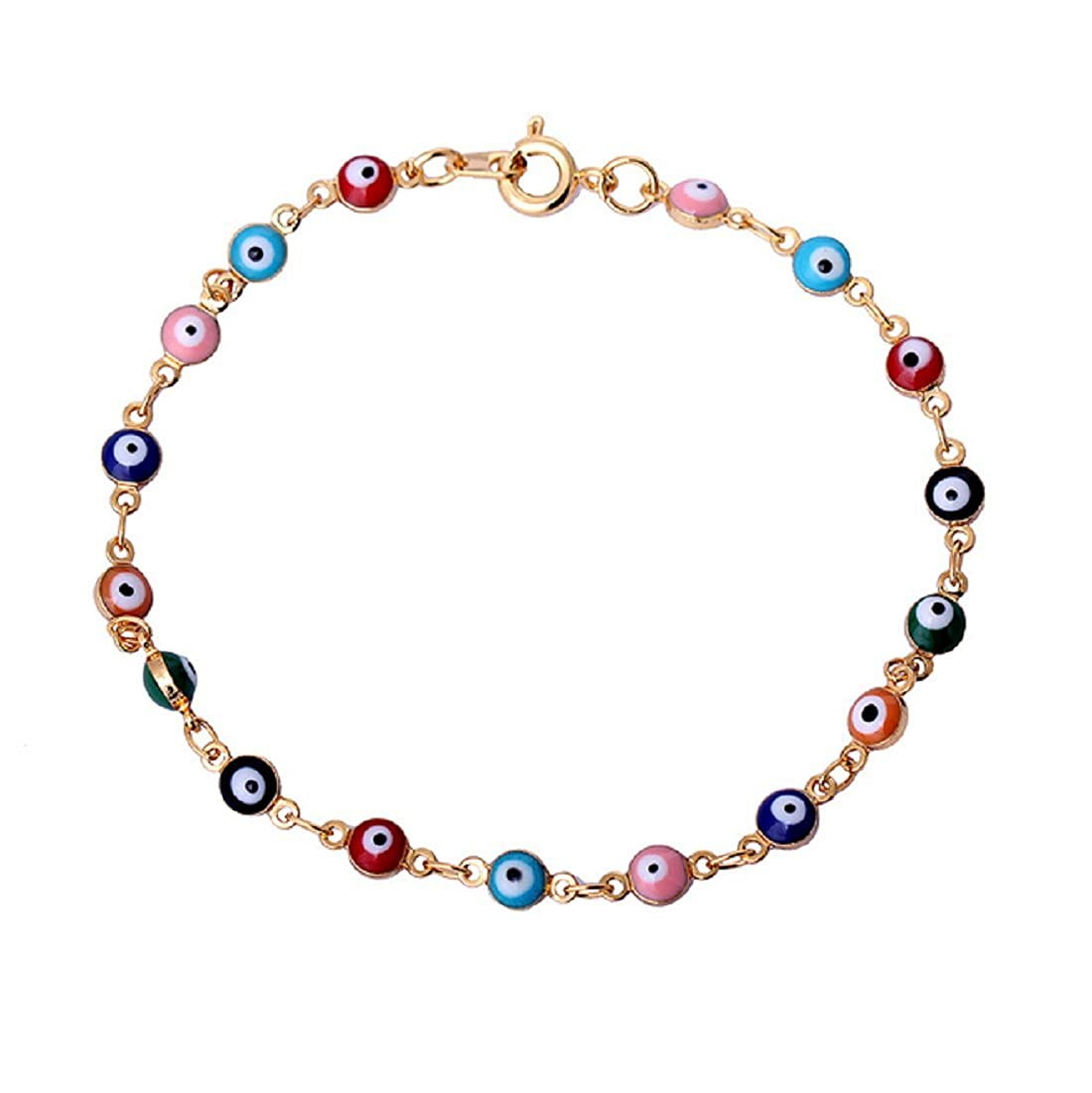 Blowin Womens Present Rose Gold Tone Overlay with Colorful Mini Evil Eye Style Bracelet 7.87 Inch BW4PR001444