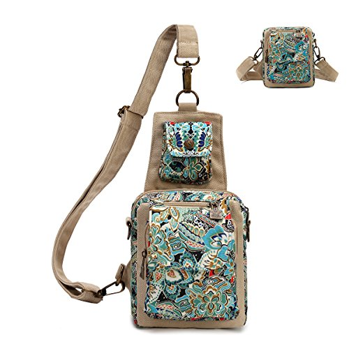 Black Butterfly Dual Purpose Chest Pack Crossbody Bag Canvas Shoulder Bags Original Bohemia for Women Teen Girls Outdoor (Blue)