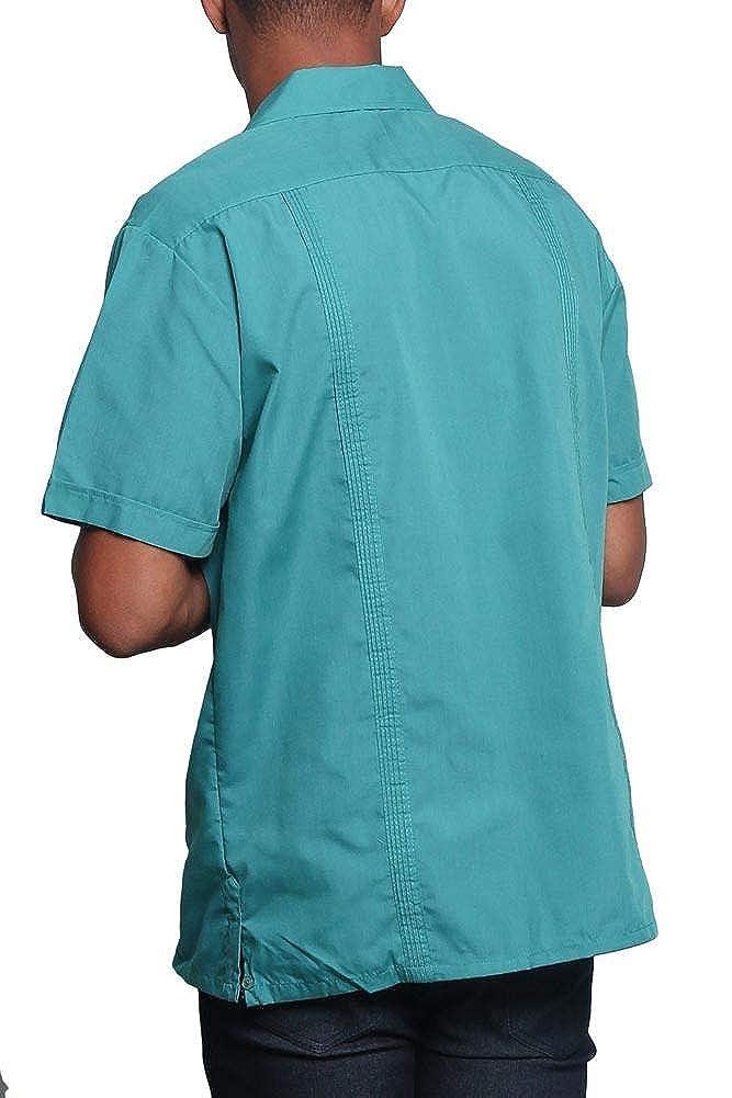 Mens Guayabera Premium Lightweight Embroidered Pleated Cuban Shirt