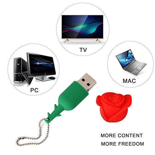 Lovely Key Chain New 32GB Cartoon Rose USB Flash Drive, USB 2.0 Flash Driver Data Storage Device Memory Rod Gift U Disk by MD001 (Image #1)'