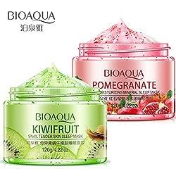 BIOAQUA Mineral Mask Fresh Tender Snail Skin Natural Extract Nourishes Moisturize 120g (Pomegranate)