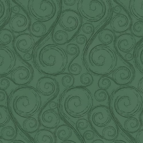 Green, Swirls, Scrolls, All Over, Holiday Wishes, Henry Glass, Jan Shade Beach, 6930-66, By YARD (Quilt Fabric Cotton Holidays)